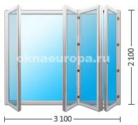 Двери гармошка на четыре секции